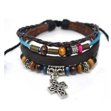 Inspirational Cross Leather Bracelet 4030063 Christian Religious Scripture