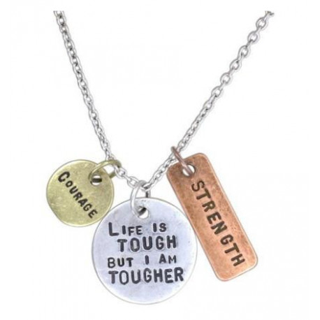 """Inspirational Tri Toned Stamped Charm Plates on 20"""" Link Chain Necklace  Keep It Sensational Stamped with Love"""
