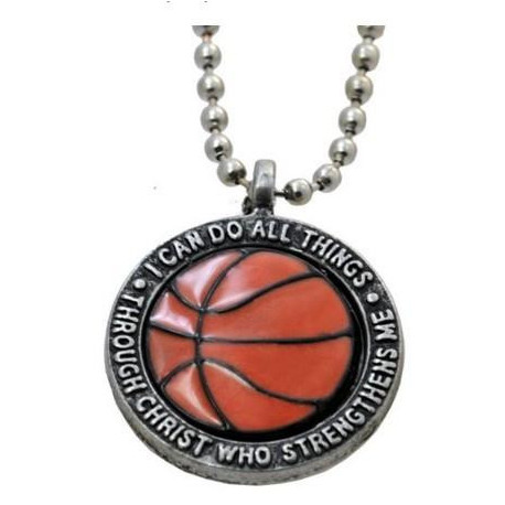 """I Can Do All Things Through Christ - Forgiven Jewelry Basketball Necklace"