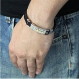 Black Rubber Bracelet With Gold Plated Sideways Cross Men's Stainless Steel