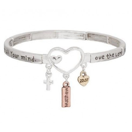 Love the Lord Heart Charm Stretch Bracelet Heirloom Finds Matthew 22:37