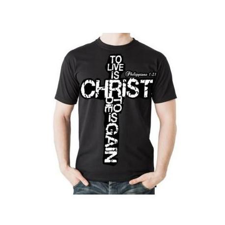 Men's Philippians 1:21 Christian TShirt Living Water