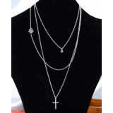 Blue Evil Eye Christian Cross Pendant Strand Chain Necklace Encounter Silver Tone Multilayer Cable Chain