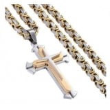Mens Chain w 22inch Byzantine Necklace Mens Boys Cross Necklace Gift Trendsmax Stainless Steel Cross Pendant Necklace