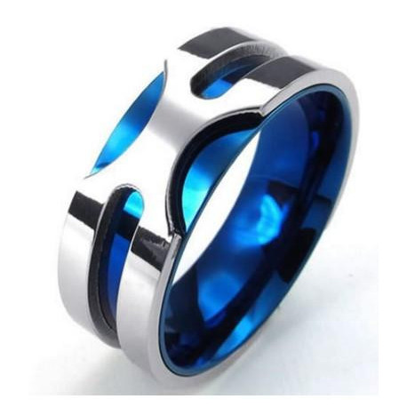 Mens Stainless Steel Ring, 8mm Classic Band, Blue Silver  KONOV Jewelry