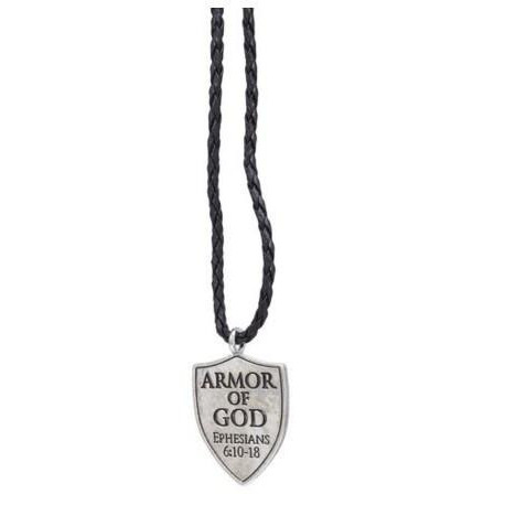 "Braided Cord Necklace Roman 1.25"" Armor of God Pendant on 20"" Black"