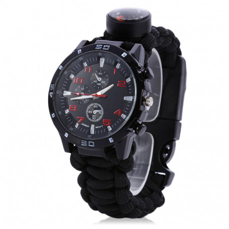 Multifunctional 6 in 1 Outdoor Survival Watch Bracelet with Compass Flint Fire Starter Paracord Thermometer Whistle