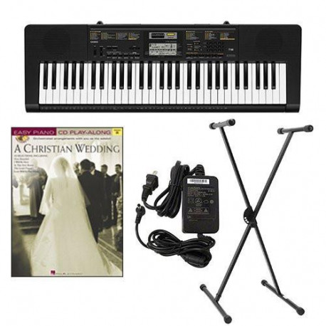 Casio Keyboard Adapter, Keyboard Stand & A Christian Wedding Easy Piano Play Along Book - Casio CTK2400 61-Key