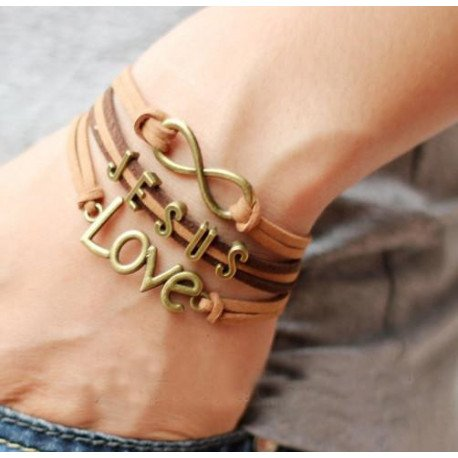 New Jesus & Love Leather Charm Bracelet  (Great Gift!)