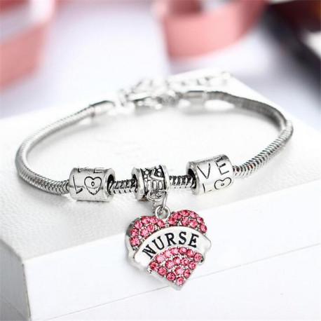 New silver plated charm Heart Nurse bracelet Austrian crystal jewelry