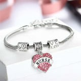 New silver plated charm Heart Nurse bracelet Austrian crystal jewelry