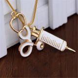 Nurse Pendant Necklace Medical Stethoscope & Needle Charm