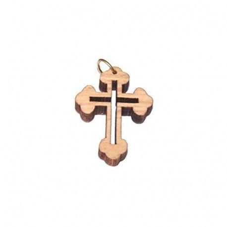 Olive wood Eastern Cross Laser Pendant