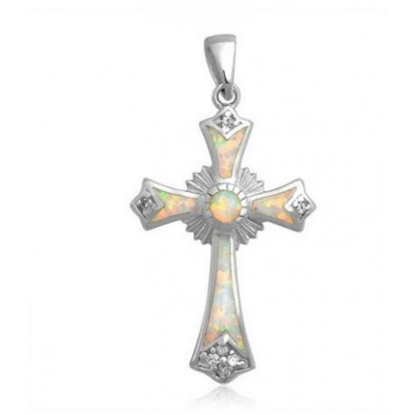 Opal Religious Cross Pendant Bling Jewelry 925 Sterling Silver Synthetic White