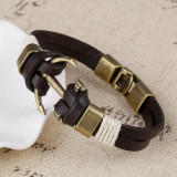 Charm Leather Anchor Bracelets For Men Vintage Jewelry Bronze Plated Bangle Leather Bracelets Hooks Bracelets