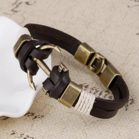 Charm Leather Anchor Bracelets For Men Vintage Jewelry Bronze Plated Bangle Leather Bracelets Hooks Bracelets