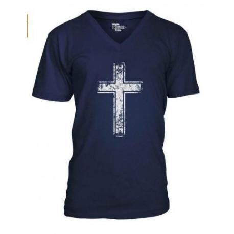Religious Christian Men's Vneck TShirt Tee  Distressed Cross