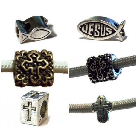 12 Pack of Mixed Silver Color Christian Beads by Midwest