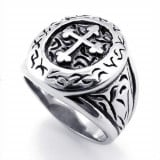 Stainless Steel Band, Silver KONOV Jewelry Classic Vintage Cross Mens Ring