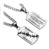 Stainless Steel Crown of Thorns Jewelry Christian Dog Tag Philippians 4:13 HIS STRENGTH