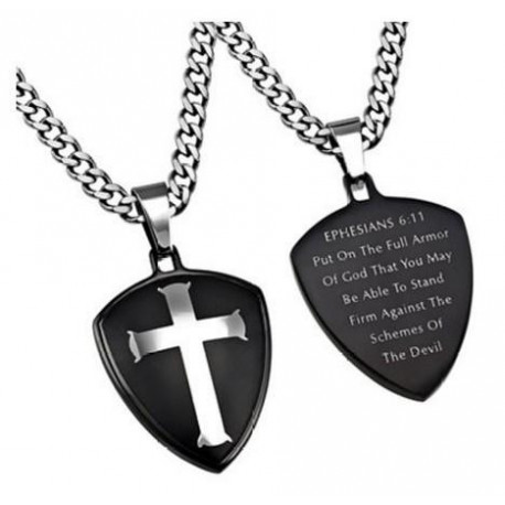 Stainless Steel Thick Chain & Christian Bible Verse with Armor of God Necklace