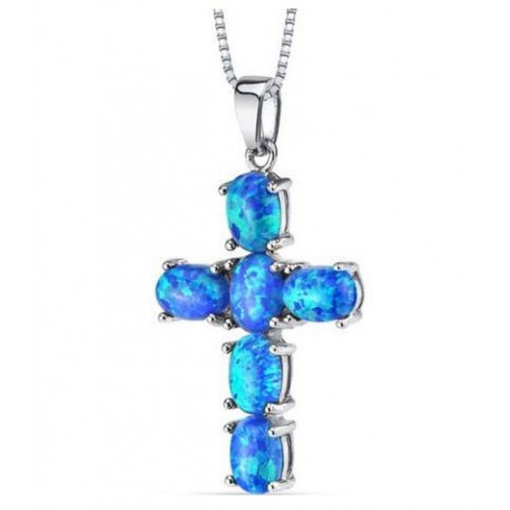 Sterling Silver 3.00 Carats Created Blue Opal Cross Pendant Necklace