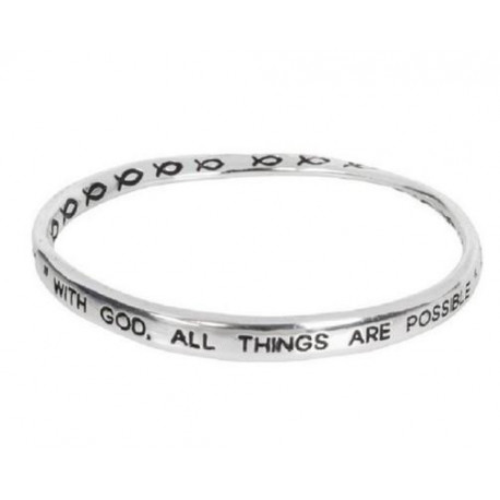 Tone With God All Things are Possible Twist Bangle Bracelet Heirloom Finds Silver