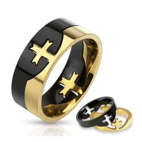 Two Tone Cross Puzzle Ring  STR0159 Stainless Steel
