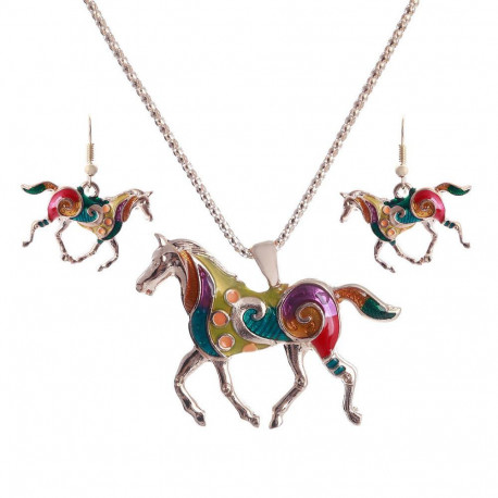 Vintage Horse Necklace & Earring Jewelry Set For Women Gold/Silver Plated