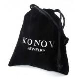 Wide Cross Bangle, 78 inch Adjustable, Black  KONOV Jewelry Mens Leather Bracelet