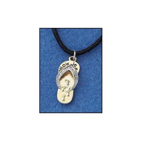 With 16 Inch Cord Necklace  Christian Faith Jewelry InchFollow Jesus Inch Footprints in the Sand Sandal Shape Pendant