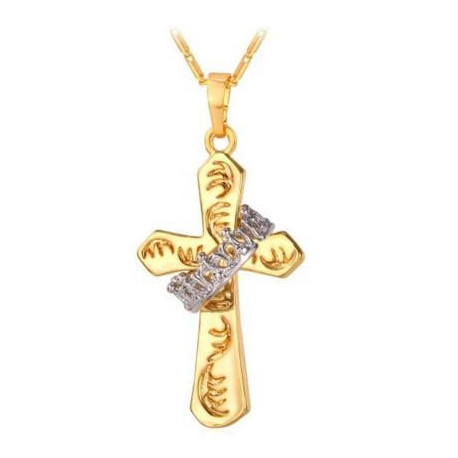 With Platinumplated Crown  U7 Jewelry 18K Gold Plated Cross Pendant Necklace