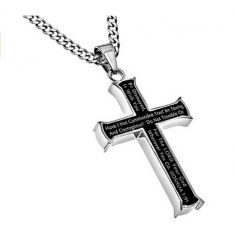 Christian Bible Verse MEN Black Steel Cross Pendant, Christian  Joshua 1:9 Necklace