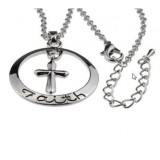 Word Faith Engraved on Silver Circle Necklace Christian Jewelry Cross Pendant