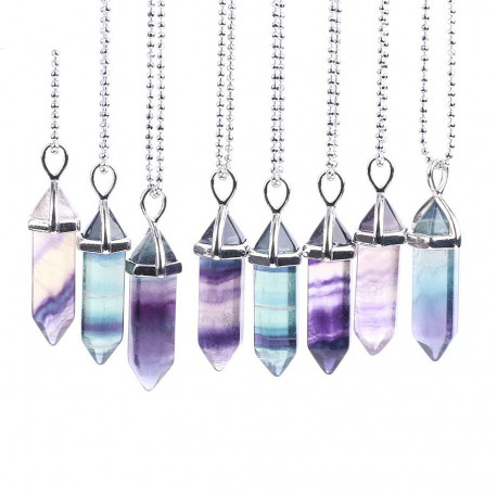 Natural Fluorite Point Pendant Necklace
