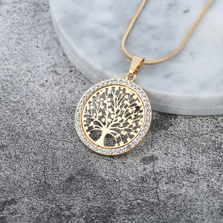 Tree of Life Silver Crystal Pendant Necklace