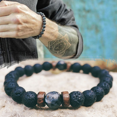 Men's Natural Moonstone Bead Tibetan Buddha Bracelet