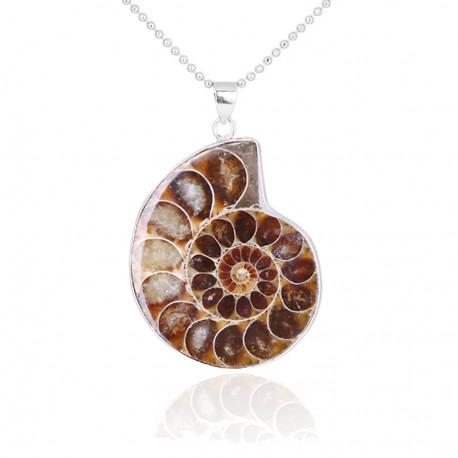 Natural Stone Ammonite Fossil Pendant Necklace
