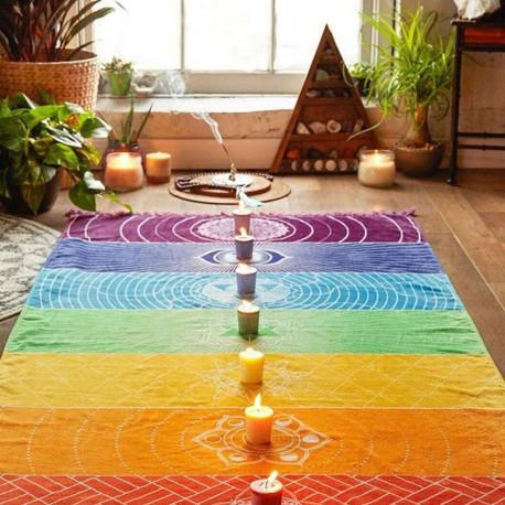7 Chakra Mandala Yoga Tapestry Blanket