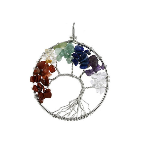 Curved 7 Chakra Reiki Tree of Life Pendant Necklace