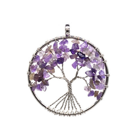 Amethyst Reiki Tree of Life Pendant Necklace