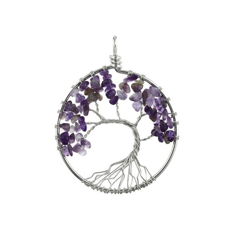 Curved Amethyst Reiki Tree of Life Pendant Necklace