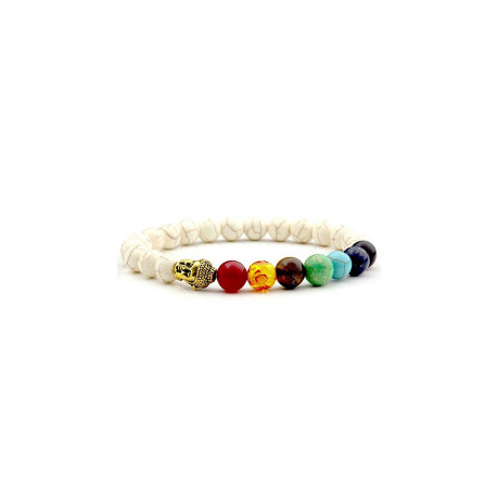 7 Chakra  Buddha White Stone Healing Bracelet