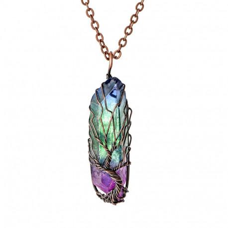 Tree of Life Quartz Crystal Healing Pendant Necklace