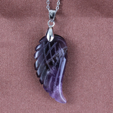 Natural Amethysts Silver Vintage Angel Protection Wing Pendant