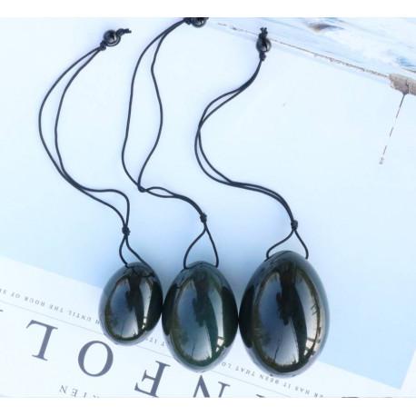Natural Nephrite Jade Yoni Eggs (Three Piece Set)