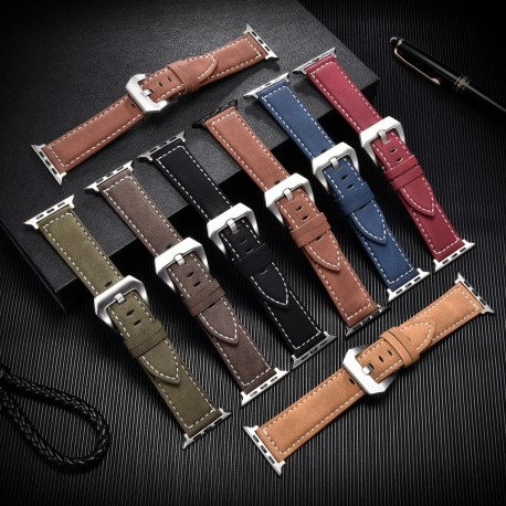 Vintage Leather Watch Strap for Apple 40mm 44mm Series SE 6 5 4 3