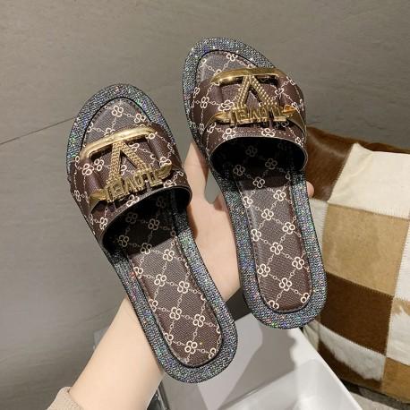 ILOVEU Serie 10  F2373 ( Luxury Designer Slippers ) Summer Women Sandals, Flat Beach Ladies Sandals,  Beach Shoes Casual, Flip F