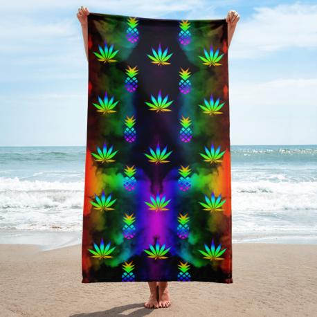 *CUSTOM*  Rainbow Marijuana and Pineapple Beach Towel