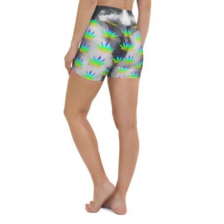 *CUSTOM*  Rainbow Marijuana Highwaist Yoga Shorts